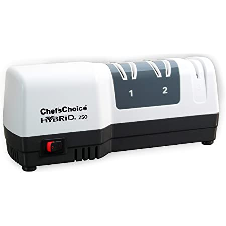 Chef'sChoice 250 Hone Hybrid Combines Electric and Manual Sharpening for Straight and Serrated 20-degree Knives Uses Diamond Abrasives for Sharp Durable Edges, 3-Stage, White