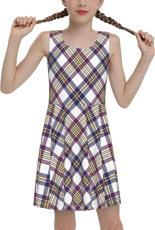 Brown Plaid Sleeveless Dress for Girls Casual Printed Vest Skirt