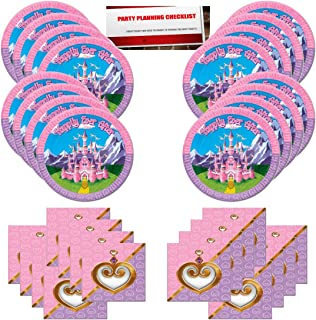 Princess Pink Purple Tiara Castle Birthday Party Supplies Bundle Pack for 16 Guests (Plus Party Planning Checklist by Mikes Super Store)