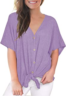 Womens Loose Blouse Short Sleeve V Neck Button Down T Shirts Tie Front Knot Casual Tops