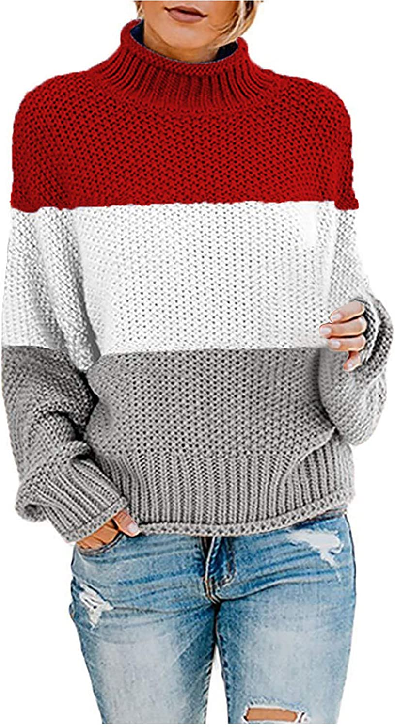 Sweaters for Women, Womens Fashion Turtleneck Long Sleeve Knit Sweater Casual Loose Knitted Pullover Jumper Blouse Tops