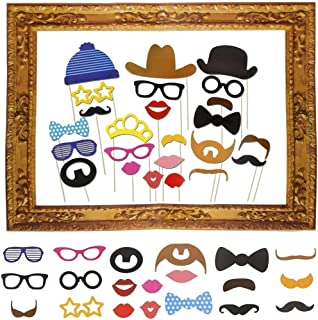 KMALL 25pcs Photo Booth Props With Frame DIY Kit for Birthday Party Wedding & Photobooth Reunions Dress-up Costume Accessories with Mustache,Hats,Glasses,Lips,Bowties