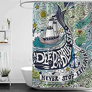 homecoco Shower Curtains with Blue and Green Whale,Cute Whale on Wavy Ocean Design Swimming to an Island with Palm Trees Print,Blue Pink and Green W65 x L72,Shower Curtain for clawfoot tub