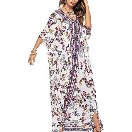 AiJump Womens Roomy Kaftan Swimsuit Kimono Bikini Cover Ups Loose Beach Robe Poolside Dress