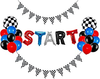 START Race Car Birthday Party Decorations Set with START Balloons Checkered Black and White Pennant Banner Flags for Boys ...