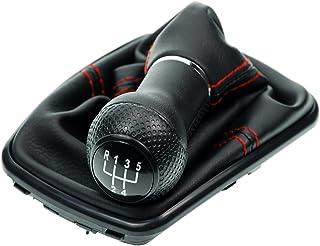 L & P Car Design L&P A253 3 Schaltsack Schaltmanschette Schwarz Naht Rot Schaltknauf 5 Gang 12mm kompatibel mit VW Golf 4 IV Rahmen Schwarz Knauf Plug Play Ersatzteil für 1J0711113