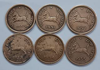 AL. EN. SONS, Coins and Stamps, UNCIRCULATED, 6 Coins Set, ONE Pice Horse Complete Set 1950- 1955