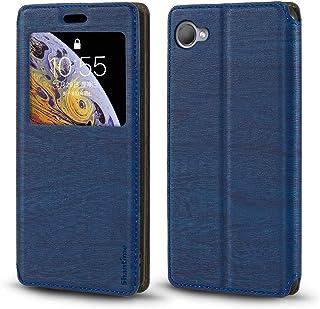 جراب HTC Desire 12، جراب جلد محبب خشبي مع حامل بطاقات ونافذة، غطاء قلاب مغناطيسي لهاتف HTC Desire 12