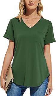 AKEWEI Women's V-Neck T Shirts Loose Rolled Short Sleeve Tunic Tops with Pocket