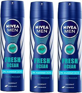Nivea Men 48 h Fresh Ocean Long Lasting Deodorant 150 ml ( Pack of 3 )With Free Ayur Soap
