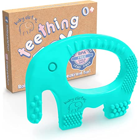 Baby Teething Toys - BPA Free Silicone Toy - Cute, Easy to Hold, Soft and Highly Effective Elephant Teether Ring - Teethers Best for 0-6 6 to 12 Months Little Boy and Girl, Unique Baby Shower Gifts