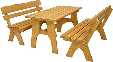 DEGAMO Gartengarnitur Freital 150cm 3-teilig, 2X Bank 3-sitzer und 1x Tisch 70x150cm, Kiefer imprägniert