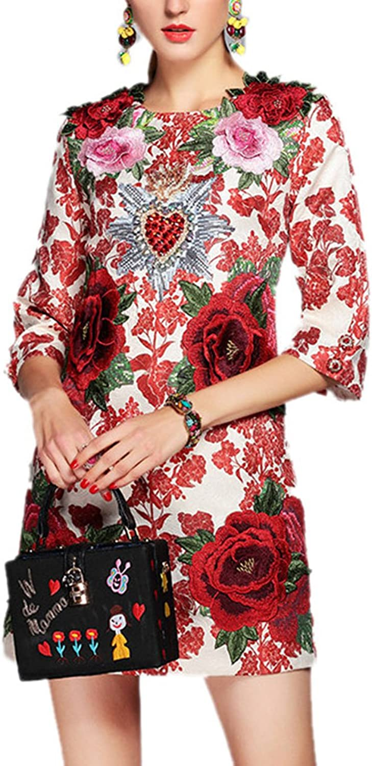 BCVHGD New Dress Womens Elegant Party Beading 3D Floral Flower Appliques Vintage Dress