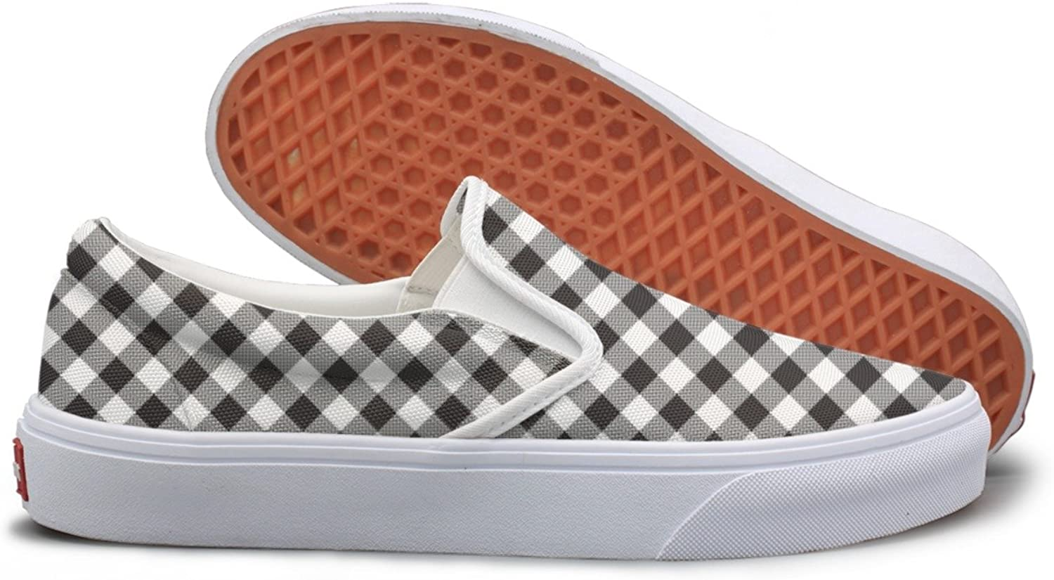 Lalige Black White Checkerboard Texture Women Printed Graphics Canvas Slip-on Travel shoes