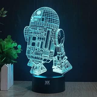 3D Lamp R2-D2 Table Night Light Force Awaken Model 7 Color Change LED Desk Light with Multicolored USB Power for Living Bed Room Bar Best Gift Toys Designed by HUI YUAN