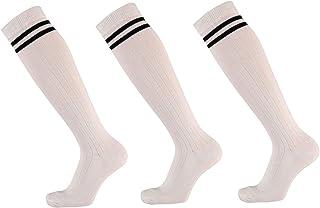 krautwear, Calcetines de deporte para mujer y niña, con 2 rayas, con rayas en negro, blanco, gris, fucsia 35-42