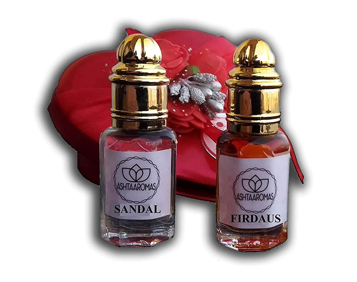 系譜アーチアクセントアターITRA最高品質の香水は、長期的なアターをスプレー|ハーブアター(8ミリリットルずつ)持続コンボ2個のアターサンダルとフィルダウスアターロング