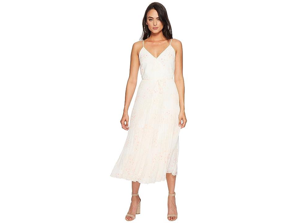 1.STATE Spaghetti Strap Pleated Wrap Dress (New Ivory) Women