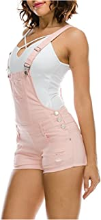 Women's Trendy Destroyed Slim Curvy Short Overalls Size Small to 3XL