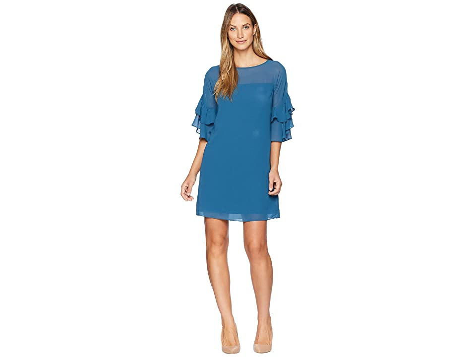 Vince Camuto Chiffon Ruffle Sleeve Shift (Dark Teal) Women