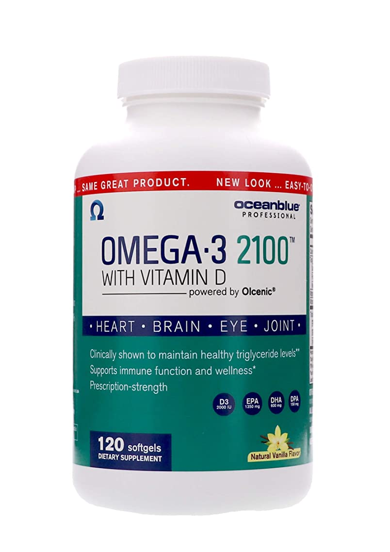 Ocean Blue | Omega 3 2100 with Vitamin D | Pharmaceutical Grade Fish Oil | 120 Count