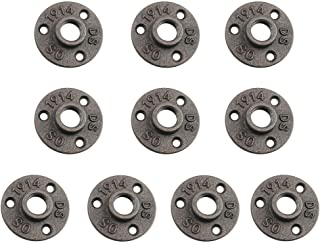 1/2 Cast Iron Floor Flange, URBEST 10 Pack Industrial Steel Fixed Base Internal Flanges Pipe Fitting with Threaded Hole for Industrial Pipe, Furniture and DIY Decoration