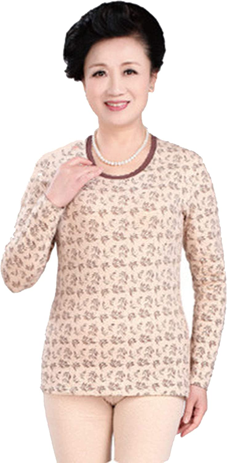 Cotton O Neck Long Old Women Winter Pajamas Warm Suit Mother's Thermal Underwear,as photo1,M