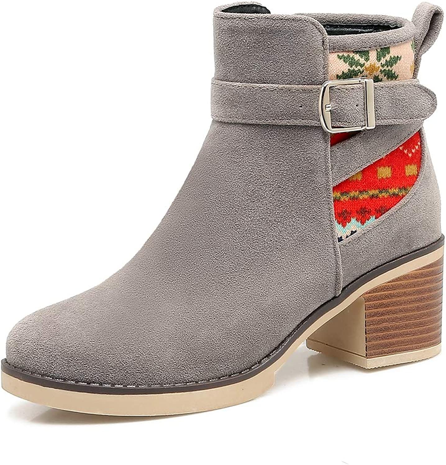 Cowboy Booties for Women Round Toe Square Chunky Heels Zip Side Printed Ankle Boots