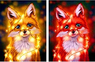 Yomiie 5D Diamond Painting Twinkle Light Fox Full Drill by Number Kits for Adults, 2 Pack Yellow and Red Fox Paint with Diamonds Art Tree Landscape Crystal Rhinestone Craft Decor (12x16inch)