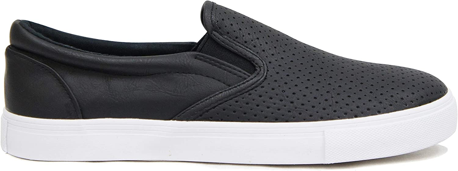 Soda Tracer ~ Women Slip On Perforated Fashion Sneakers with Extra Padded Foam Insole & Padded Collar