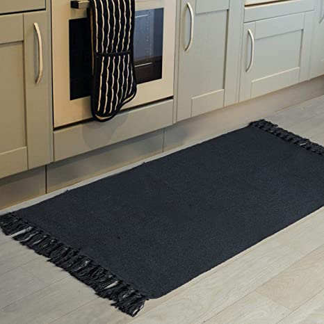 Amazon Com Black Kitchen Rug Runner 2x4 Seavish Cotton Recycled Woven Kitchen Mat Area Rug With Tassles Braid Accent Rug For Laundry Porch Entryway Bathroom Washable Mat Home Kitchen