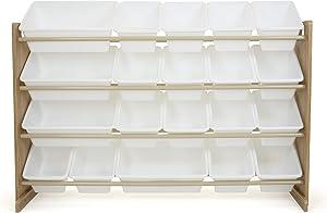 Humble Crew Toy Organizer with 20 Storage Bins, Natural/White