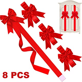 8 Pieces Christmas Cabinet Ribbons Bows Large Red Christmas Door Ribbon Cabinet Bows for Christmas Party Supplies