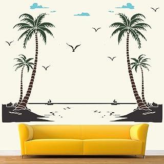 StickMe Nature Scenery Beach Decor Wall Sticker (150 x 120 Cm, Multicolour, Vinyl)