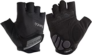 Santic Classic Fingerless Cycling Gloves with Shock-Absorbing Foam Pad Breathable Half Finger Moutain Bike Bicycle Riding Gloves for Men and Women