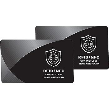 Carte de Blocage RFID | Lot de 2 | Protecteurs de Carte de Crédit, Protection de Cartes Bancaire, Passeport, pour Tous Le Signaux NFC ou sans Fil, Portefeuilles et Porte Clips, Protège Portefeuille