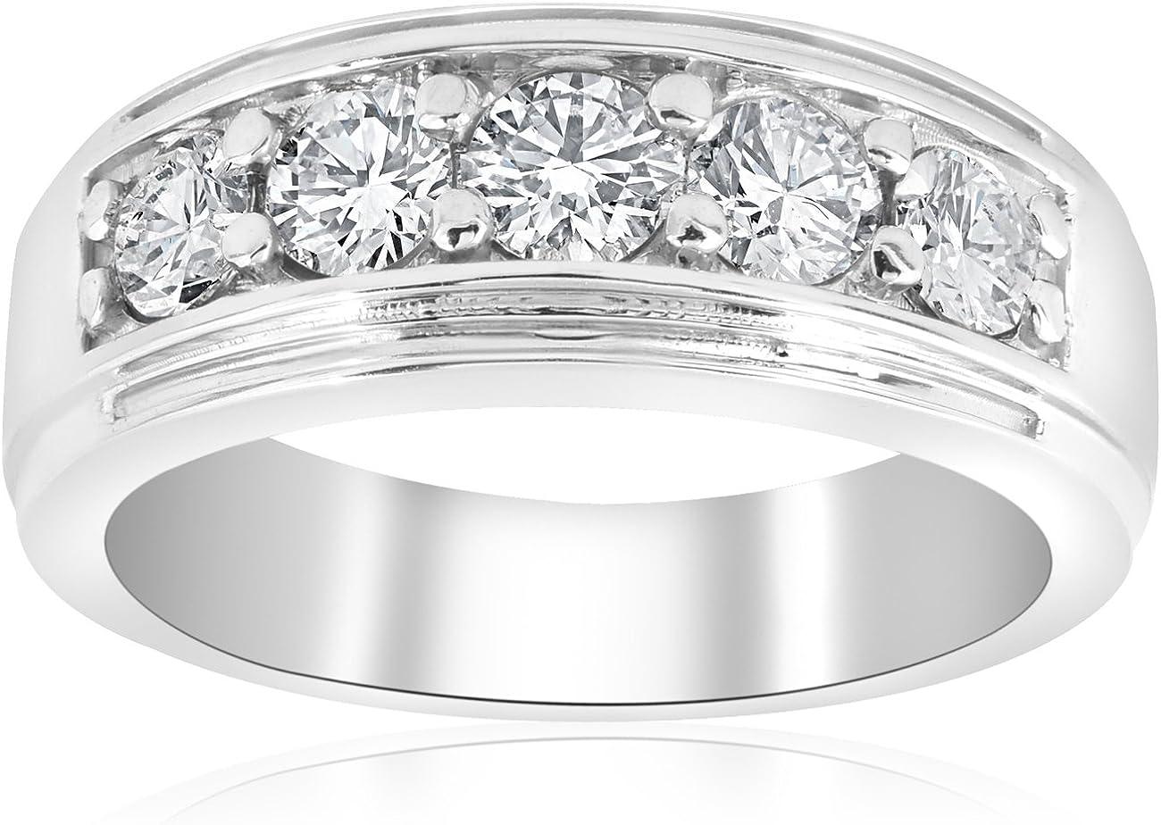 1Ct Mens Lab Grown Diamond Wedding Ring 10k White Gold