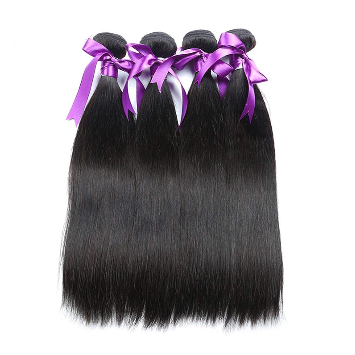 伝説デイジーほこりマレーシアのストレートヘア4本の人間の髪の束非レミーの毛の延長天然黒体毛髪のかつら かつら (Length : 8 8 8 8)
