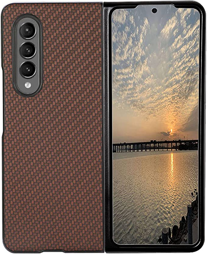 Protector Case for Galaxy Z Fold 3, PC Hard Shockproof Protection Cover PU Leather Back Cover Phone Case Shell Compatible with Samsung Galaxy Z Fold 3 5G (Brown)