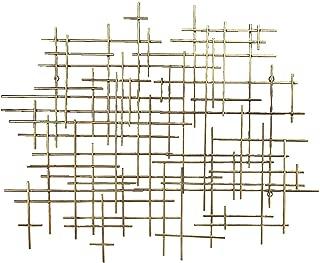 Bellaa 27079 Metal Wall Art Geometric Abstract Modern Cross Gold Décor