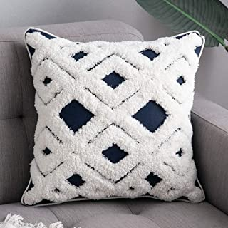 MIULEE Decorative Throw Pillow Cover Tribal Boho Woven Tufted Lumbar Pillowcase Soft Cushion Case for Sofa Couch Bedroom 20X20 Inch Navy Blue