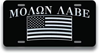Decals Home Decor & More Molon Labe American Flag Vanity License Plate | Etched Aluminum | 6-Inches by 12-Inches | Car Truck RV Trailer Wall Shop Man Cave | VLP009