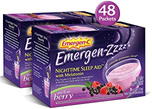 Emergen-Zzzz (Two Pack of 24 Count - 48 Packets Total), Mellow Berry Flavor, Dietary Supplement Fizzy Drink Mix Nighttime Sleep Aid with Melatonin, 500mg Vitamin C