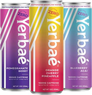 Yerbae Sparkling Water with Yerba Mate Tea – Natural Energy Drink with Caffeine..