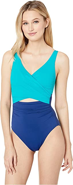 Glamour Color Block Cutout Wrap One-Piece