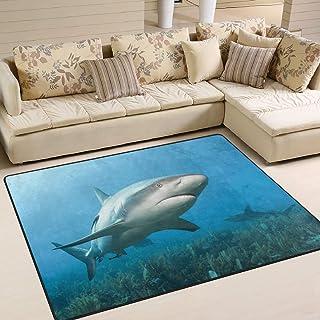 Use7 - Alfombra para Sala de Estar o Dormitorio con diseño de tiburón de Coral del océano Caribe, Tela, 160cm x 122cm(5.3 x 4 Feet)