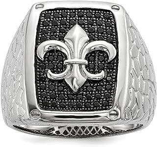 925 Sterling Silver Black Cubic Zirconia Cz Mens Band Ring Man Fleur De Lis Fine Jewelry Dad Mens Gift Set