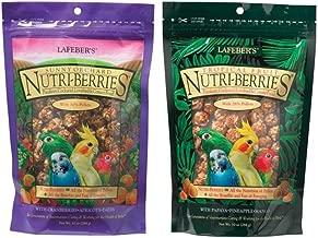 Lafeber's Nutri-Berries Parakeet, Cockatiel, Lovebird & Conure Food 2 Flavor Variety Bundle: (1) Papaya/Pineapple/Mango, and (1) Cranberries/Apricots/Dates, 10 Oz. Ea. (2 Bags)