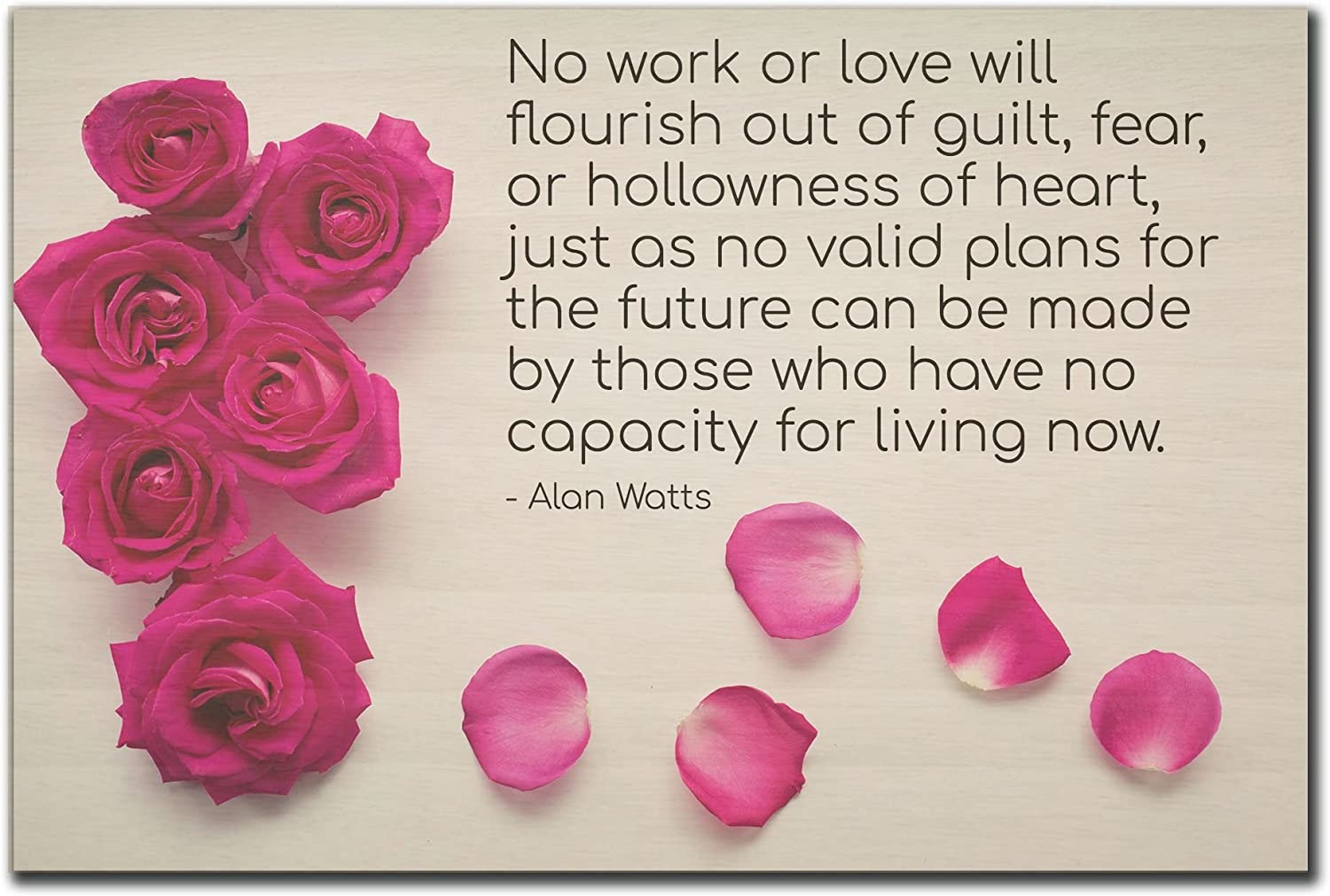 Mundus Souvenirs No work or love will flourish out of. quote by Alan Watts printed on wooden plaque - Size: 6