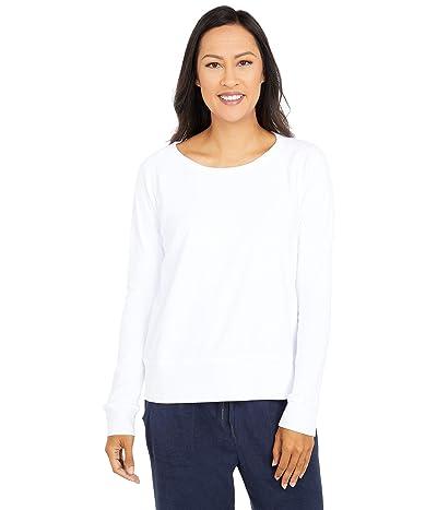 Mod-o-doc Terrycloth Raglan Sleeve Boxy Sweatshirt (White) Women
